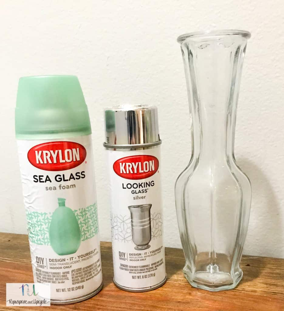 Krylon looking glass spray paint with sea foam spray paint