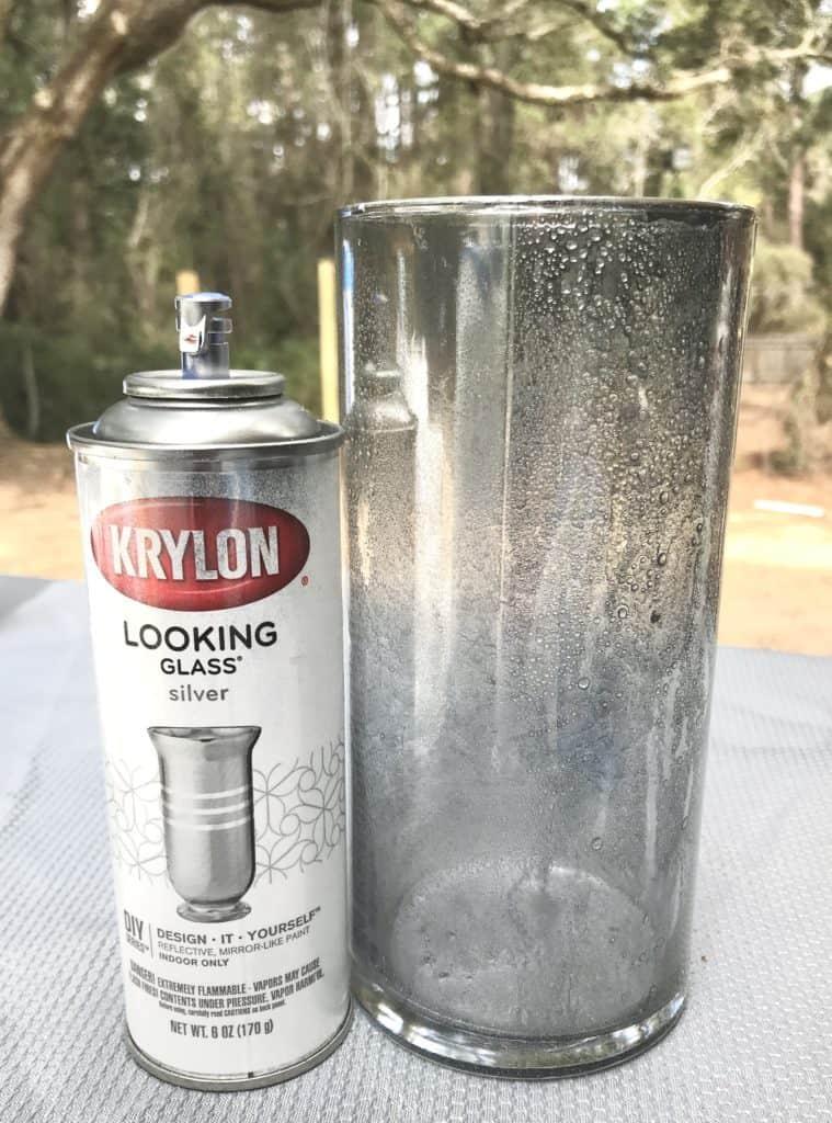 DIY mercury glass with spray paint inside the vase