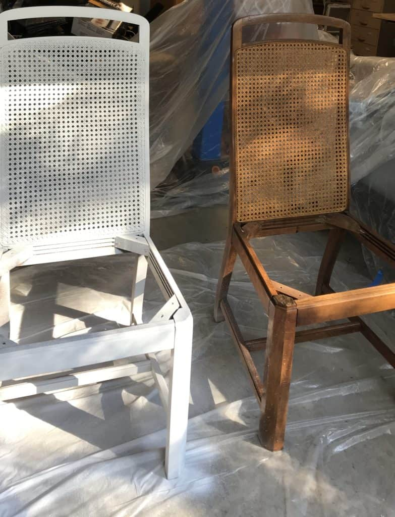 before and after of the spray chalk painted chairs