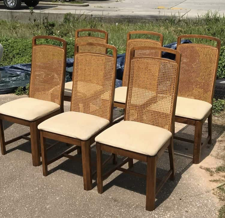cane back chairs before paint