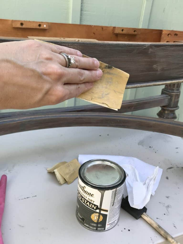 sanding the old wood stain