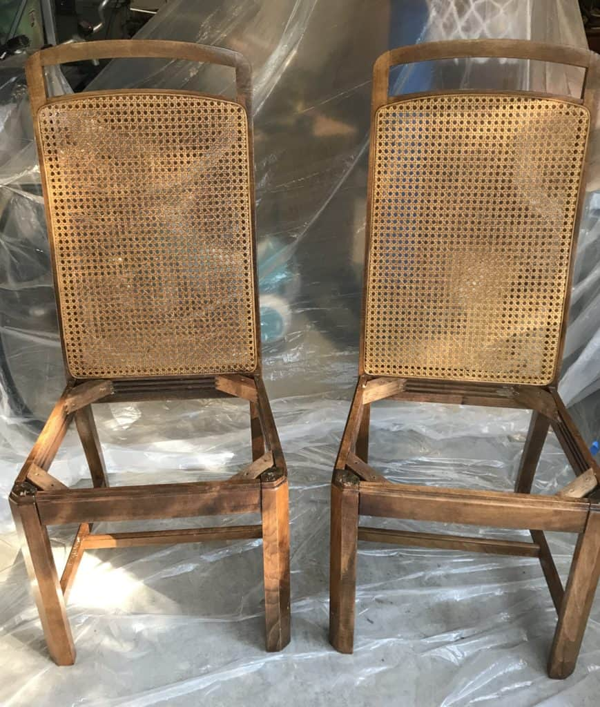 cane back chairs with cushions removed