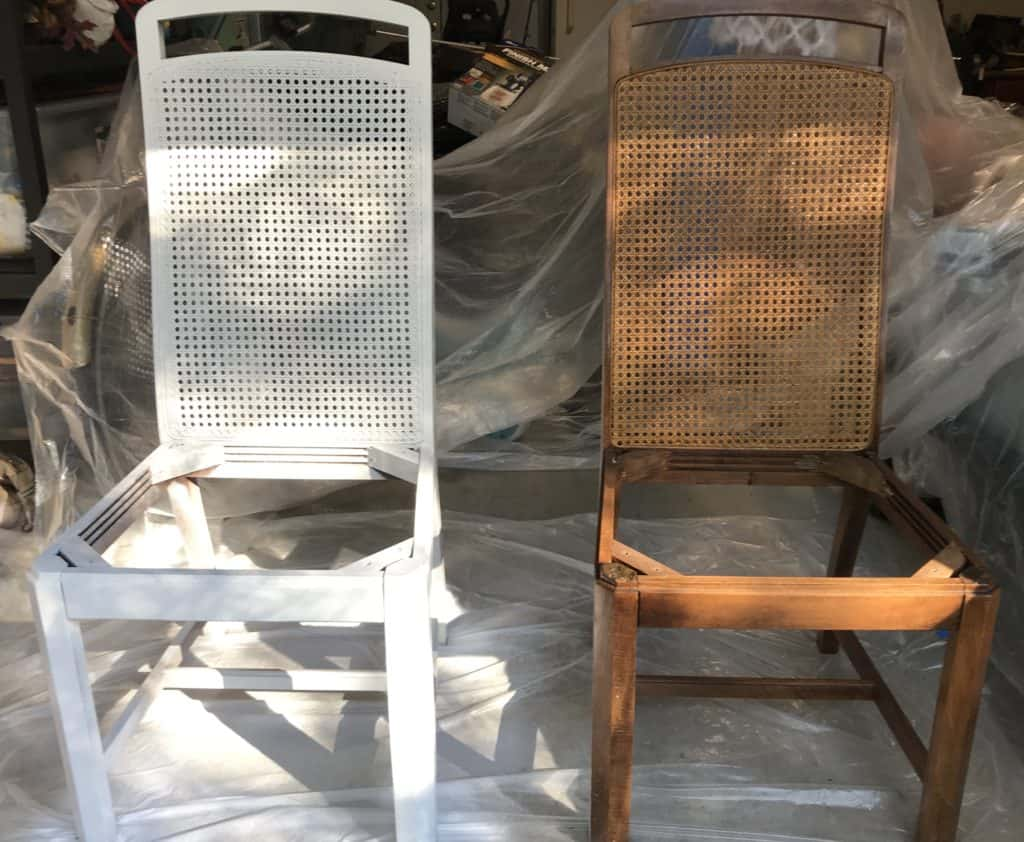 painted and unpainted cane back dining chairs