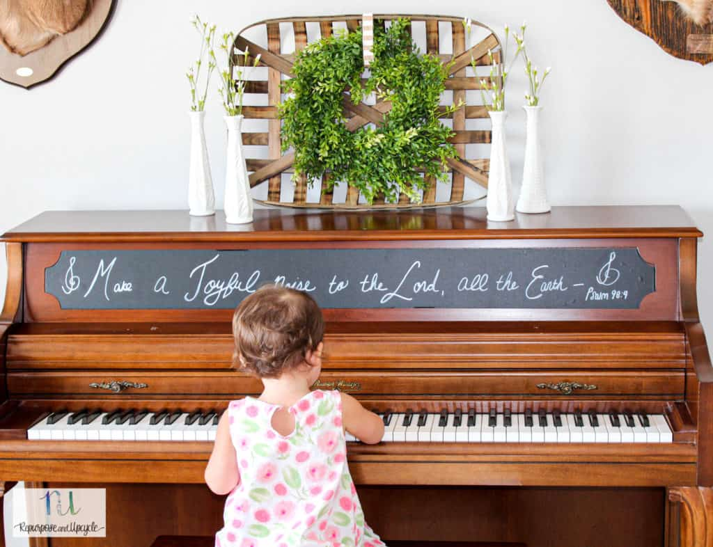 piano with chalkboard paper