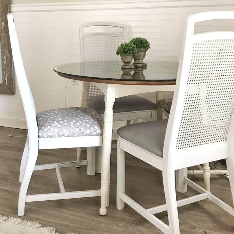 Learn the best way to paint cane back dining room chairs. I've shared a simple tutorial on how to paint any cane furniture with a few tips about what materials and tools to use. Painting cane furniture does not need to be difficult and with a few easy steps even beginner furniture painters can do it!