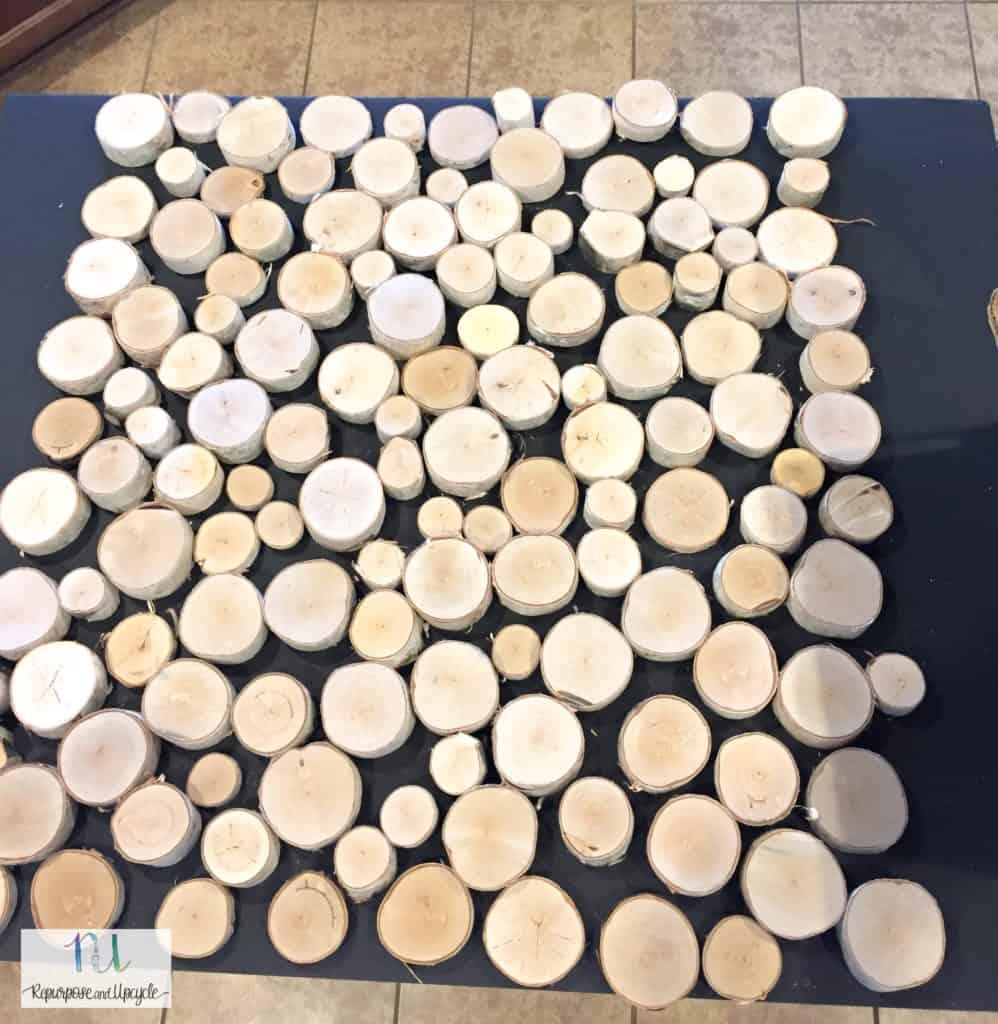placing the cut birch wood on cardboard