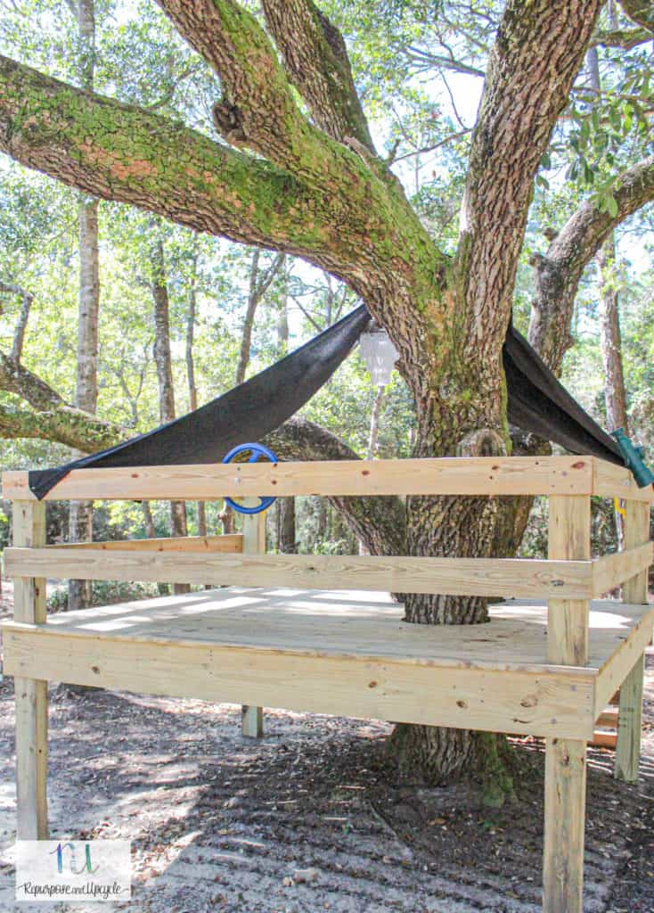 sheet tent over tree house
