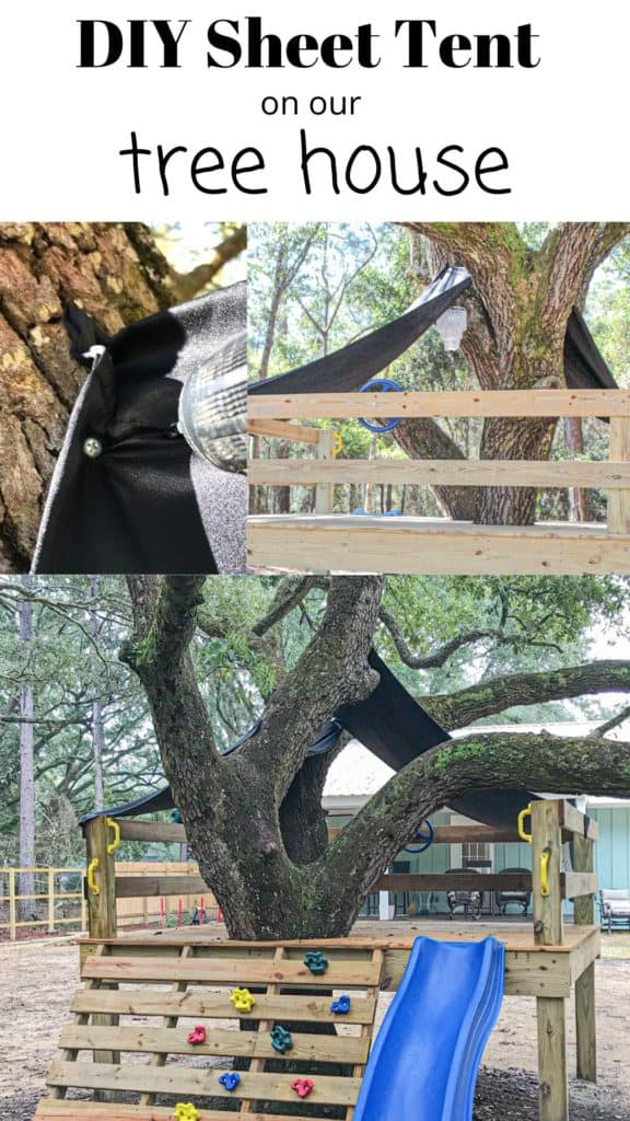 DIY Sheet Tent on our Platform Tree House