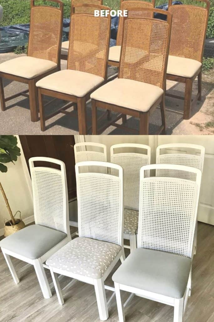 before and after of Cane Back Dining Chairs painted