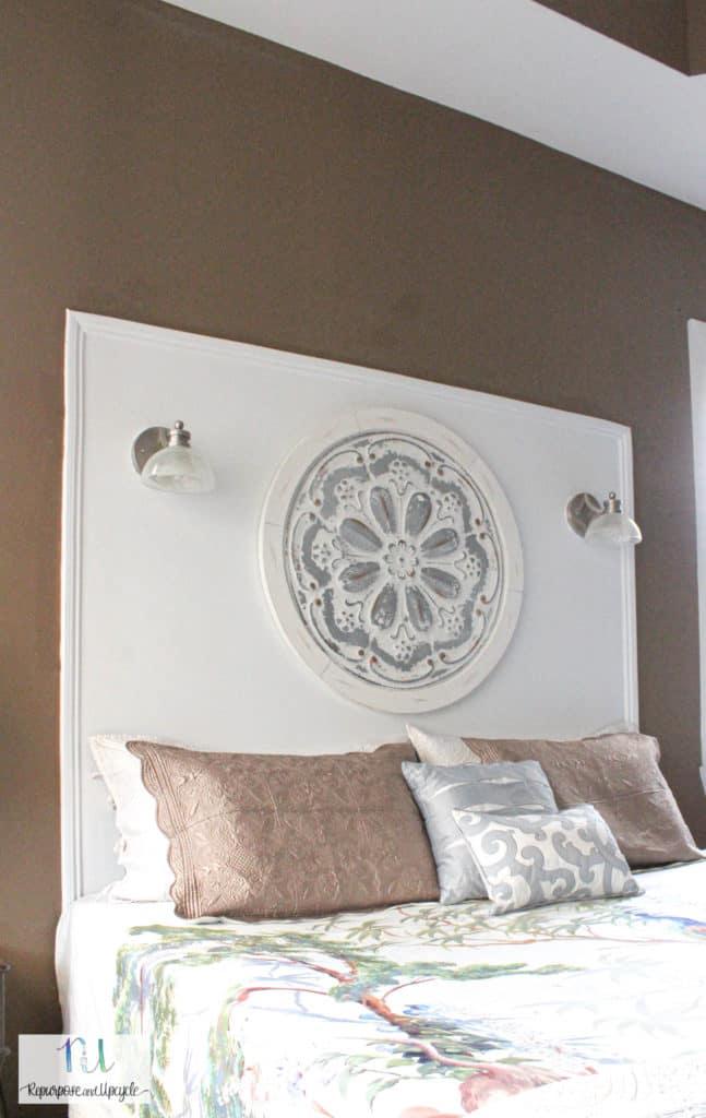 painted wall to look like a headboard