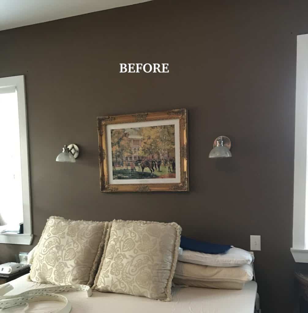 the wall before the painted DIY head board