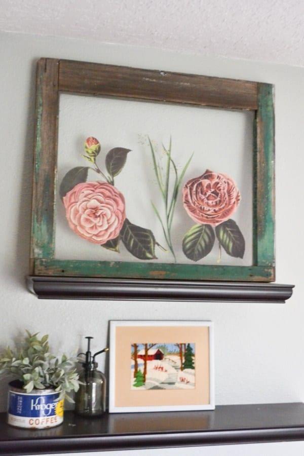 Old Window Frame Decorating Idea
