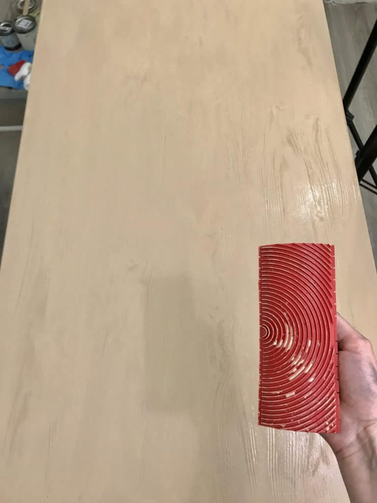 Applying the second coat of Liquid Wood and using the graining tool