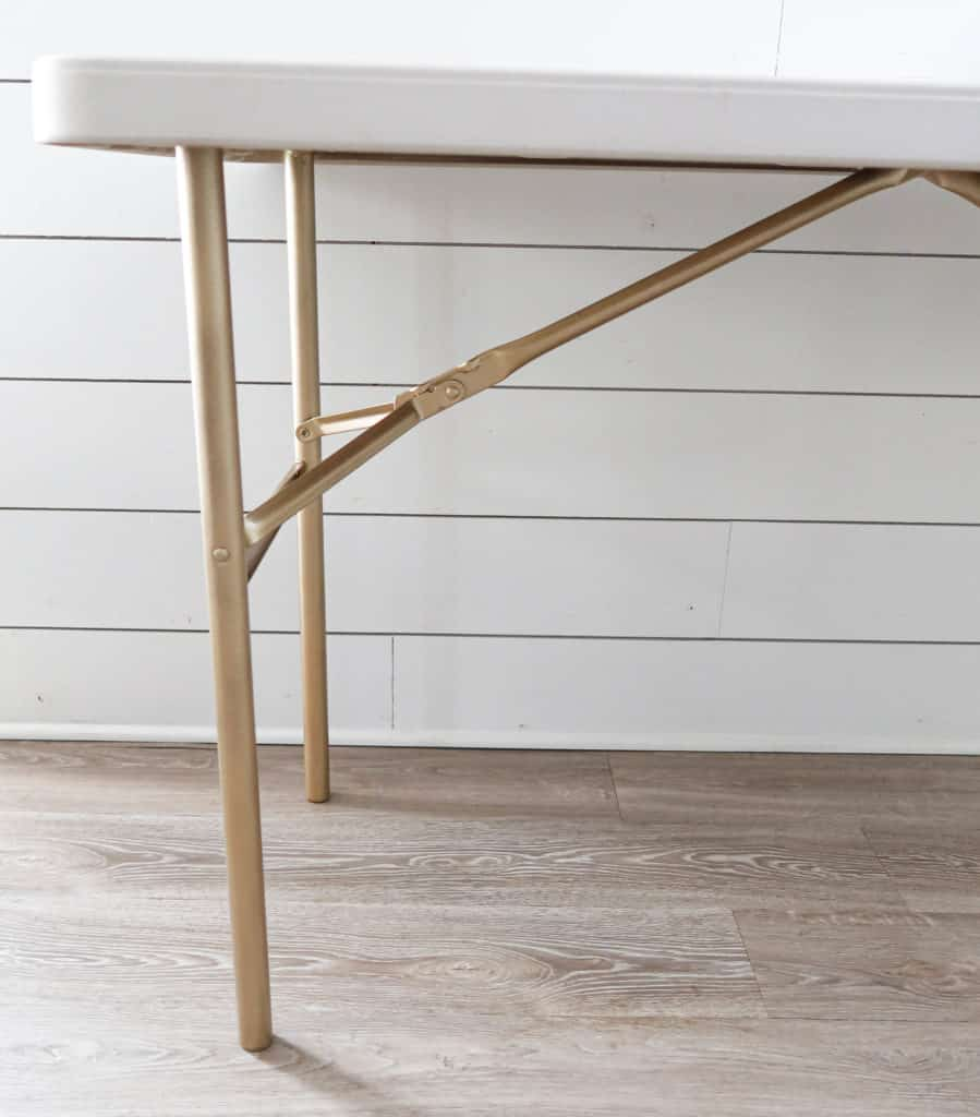folding table with a spray painted base