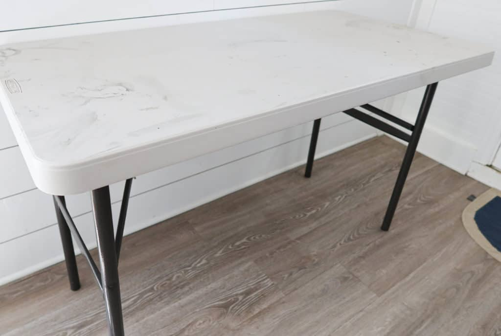 folding table before the Liquid Wood