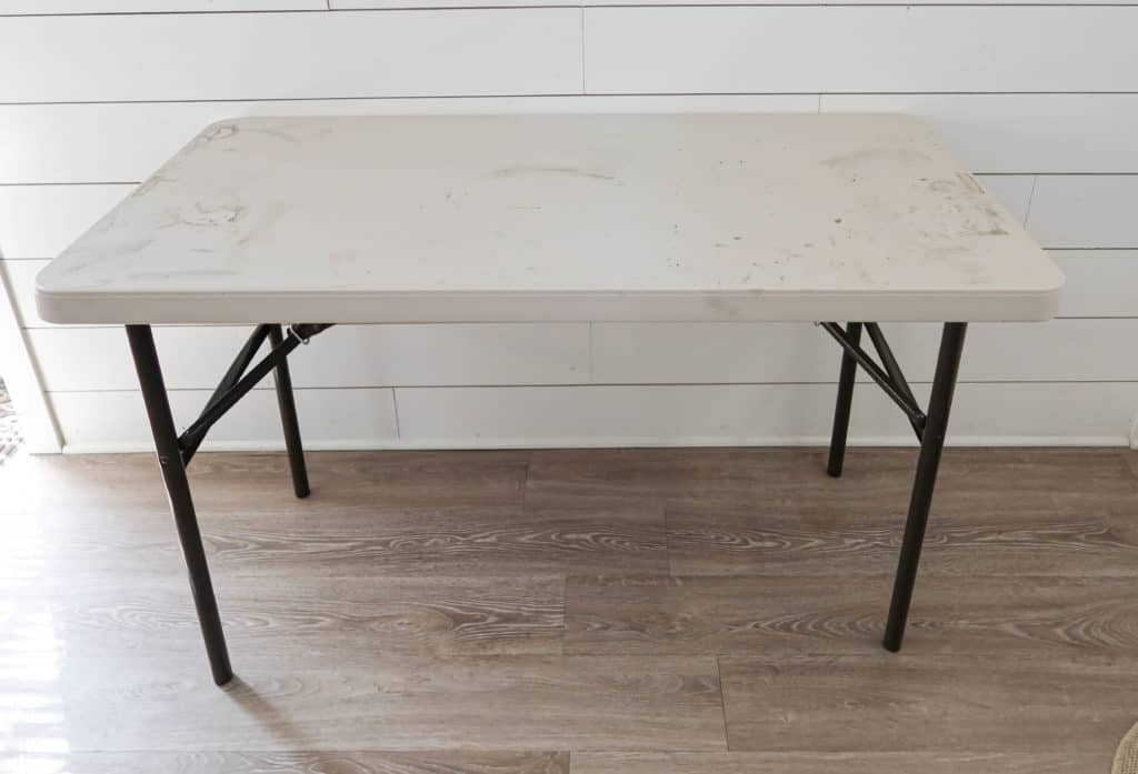 folding table before the Liquid Wood makeover