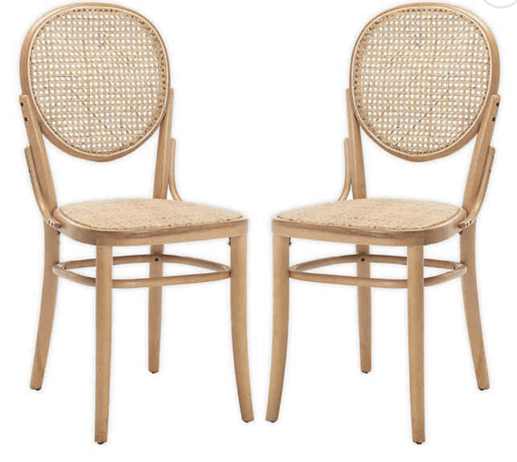 Safavieh Sonia Cane Dining Chairs in Natural (Set of 2)