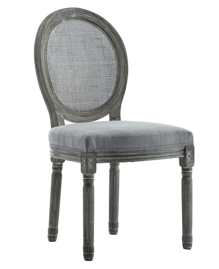 French Retro Dining Chairs, Distressed Wood Chairs with Cane Mesh Round Back Set of 2