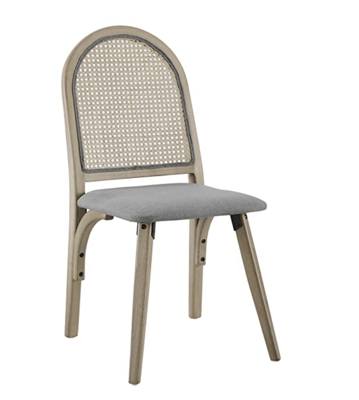 Volans Wood Dining Chair, Mid Century Modern Rustic Linen Upholstered Dining Chair with Woven Rattan Backrest