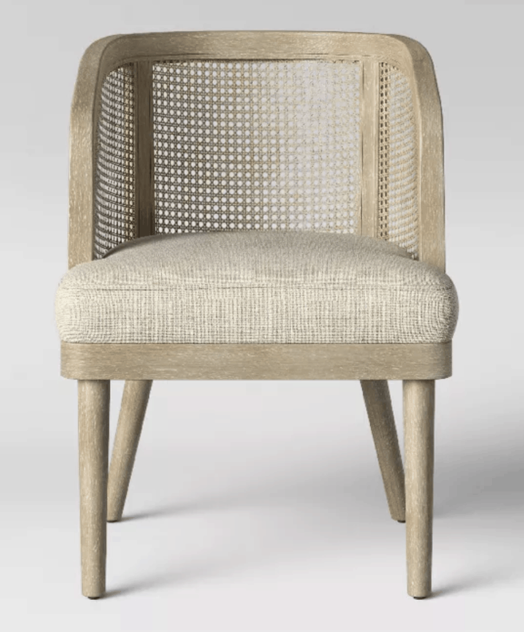 Juniper Cane and White Washed Wood Barrel Chair