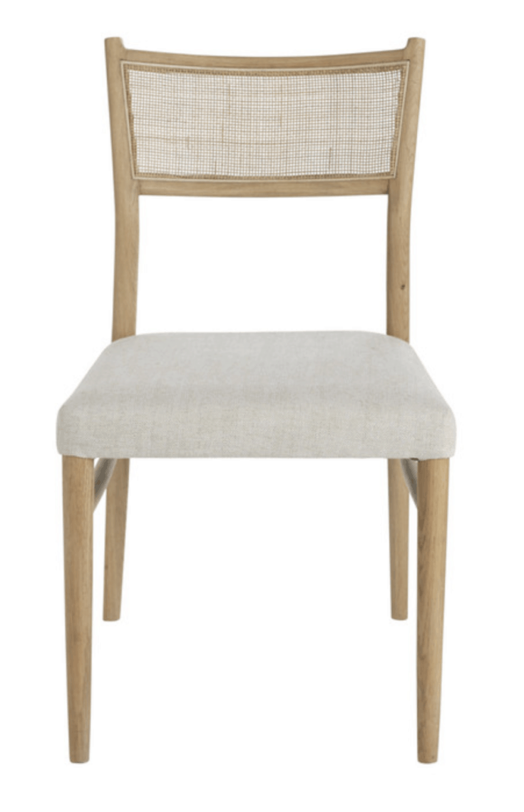 Oak & Rattan-Back Cushioned Dining Chair