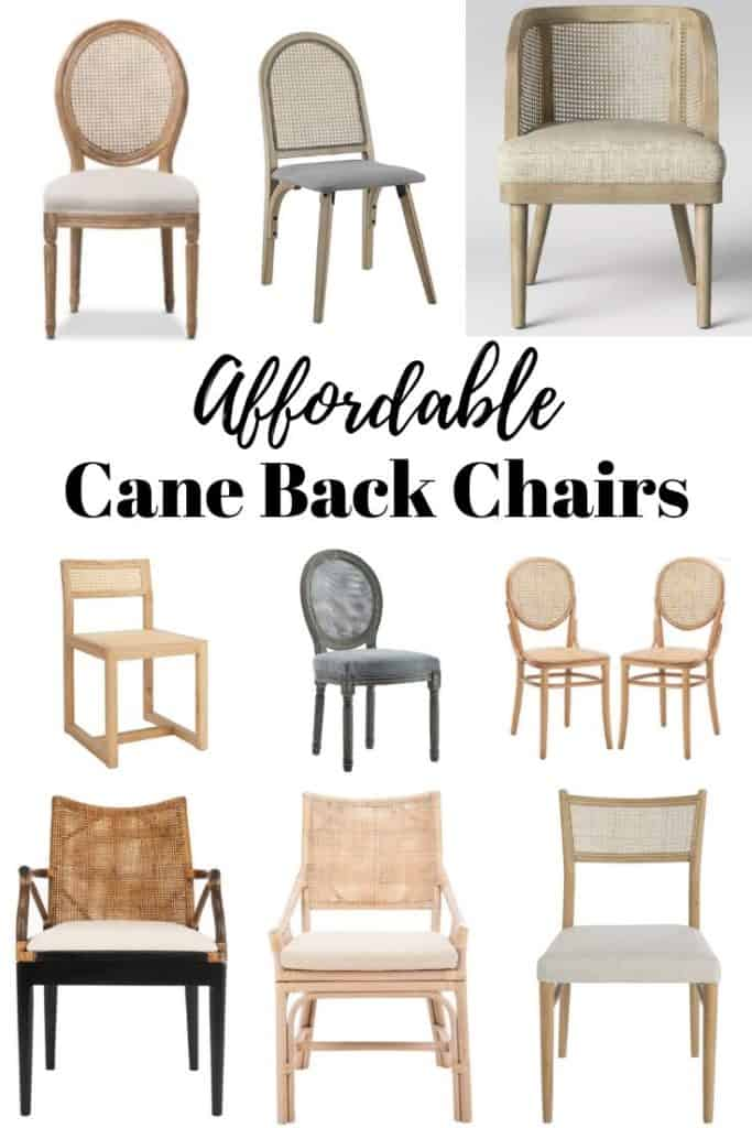 affordable cane back dining chairs