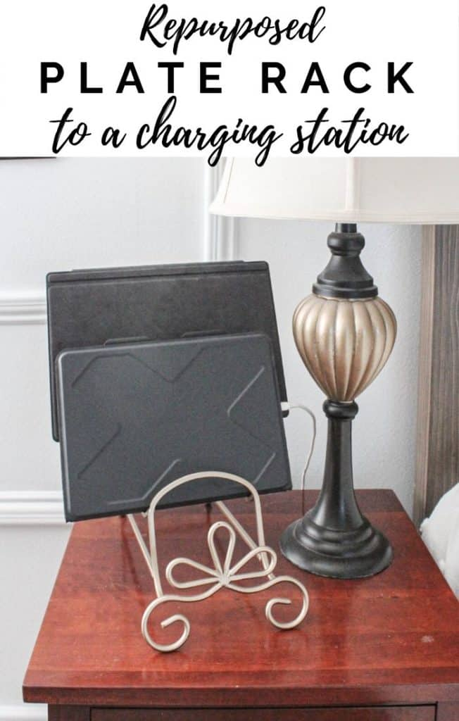 repurposed plate rack to a charging station