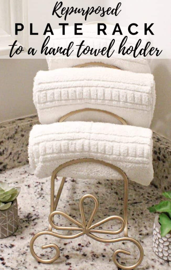 repurposed plate rack to a hand towel holder