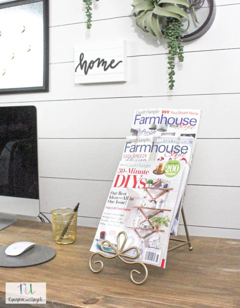 repurposed plate rack to magazine holder