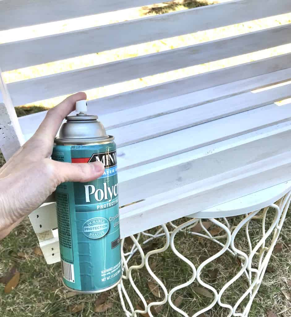 sealing the whitewashed wood with polycrylic