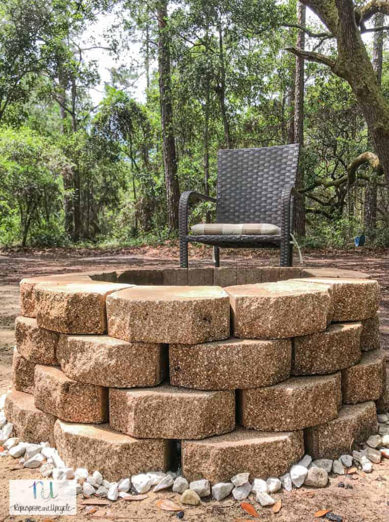 DIY concrete block fire pit