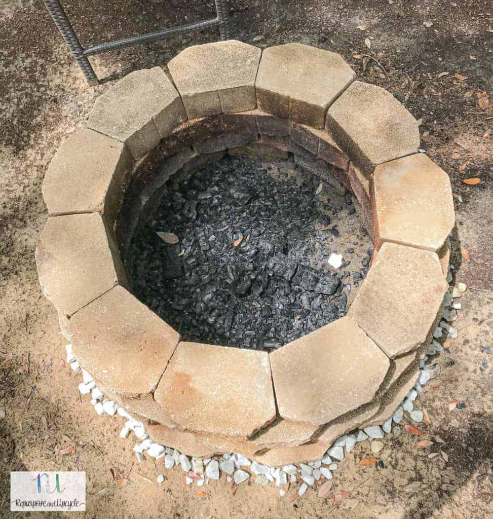 DIY fire pit view from above