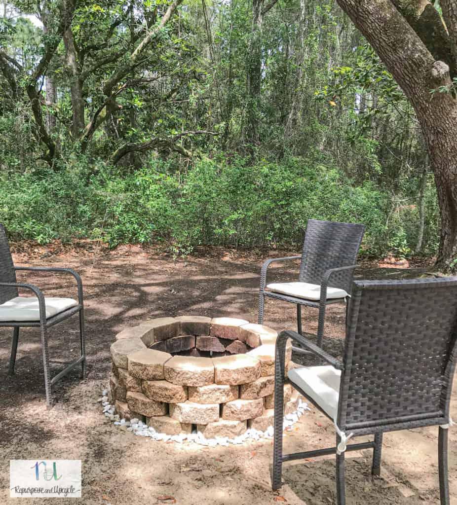 simple concrete block fire pit