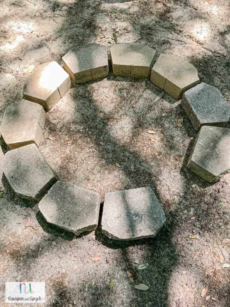 concrete pavers in a circle