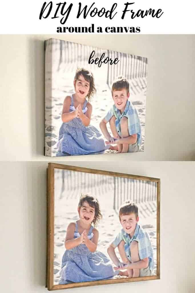 DIY Wood Frame for a Canvas from Lattice Wood and Moulding before and after