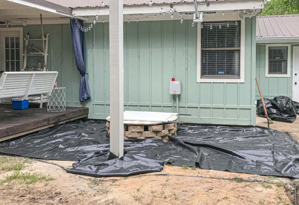 weed barrier for DIY gravel patio