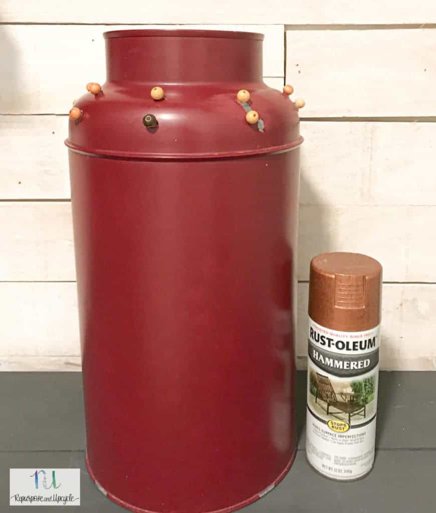 Hammered Copper spray paint I will use for the milk jug makeover