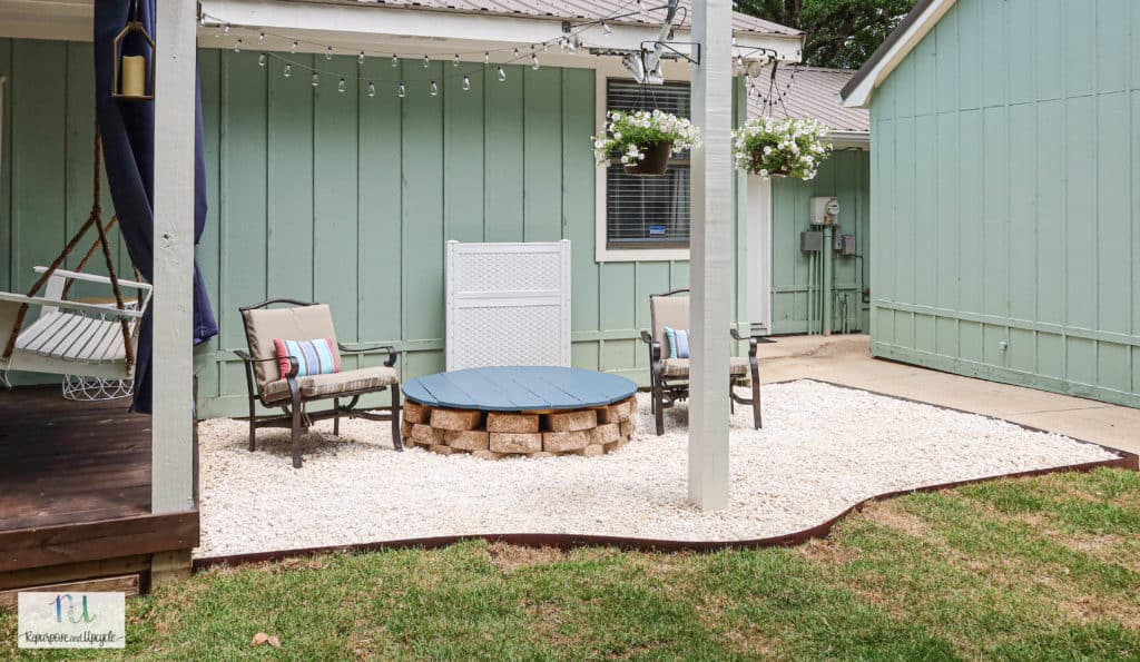 gravel patio with solar string lights