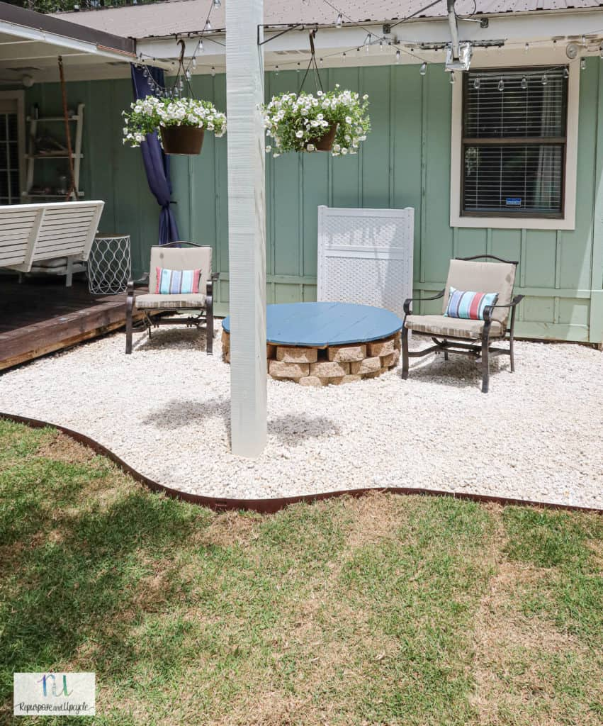 DIY gravel patio with solar string lights