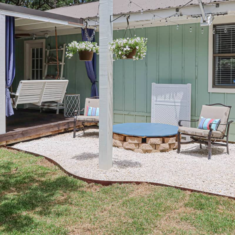 DIY Gravel Patio with Solar String Lights