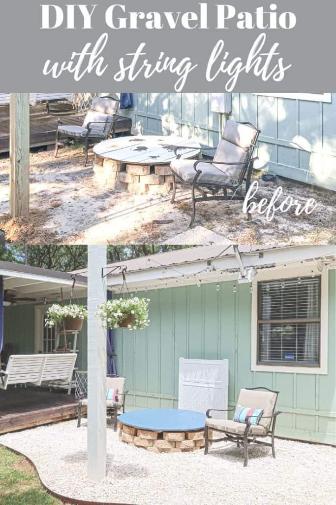 Gravel patio with string lights before and after