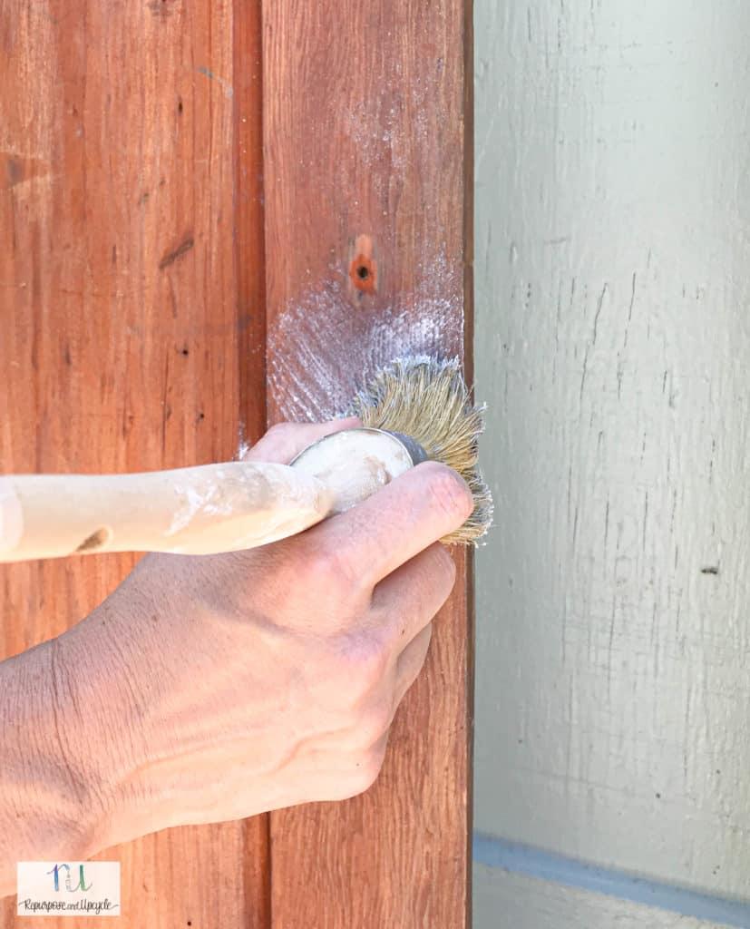 applying lime wax to vintage doors