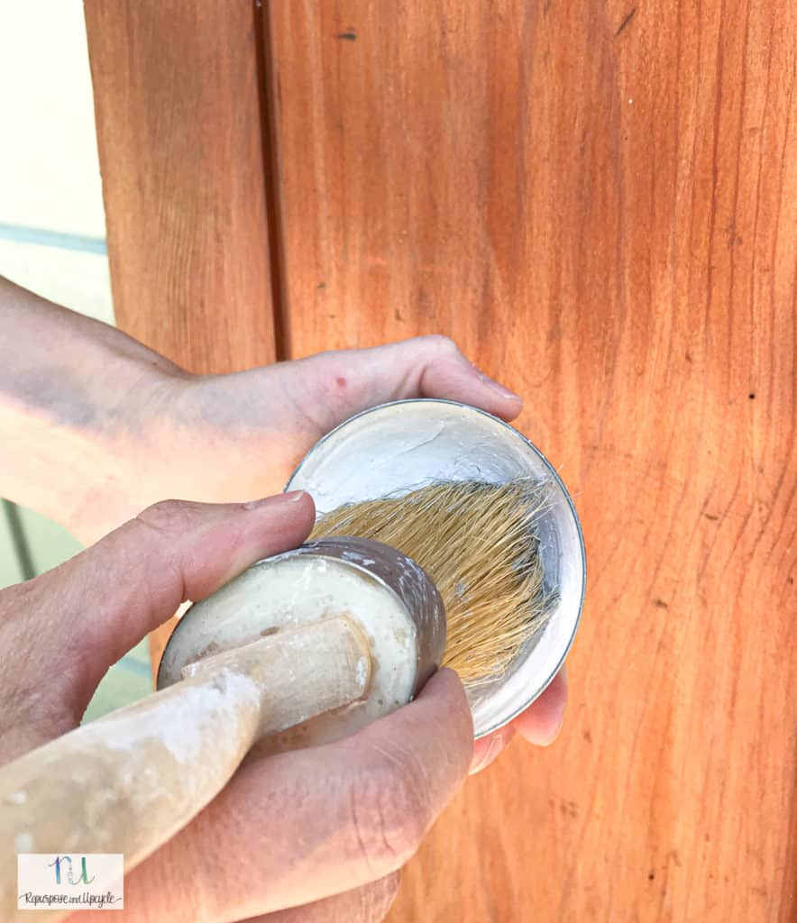 applying lime wash to vintage doors