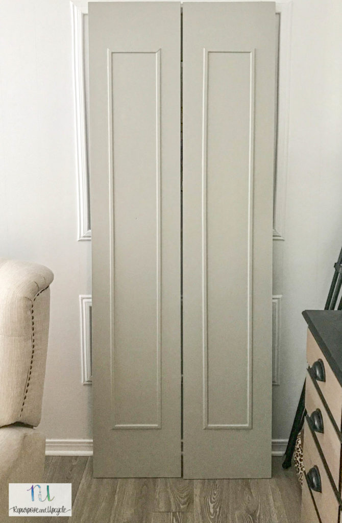 bifold door makeover with paint and moulding