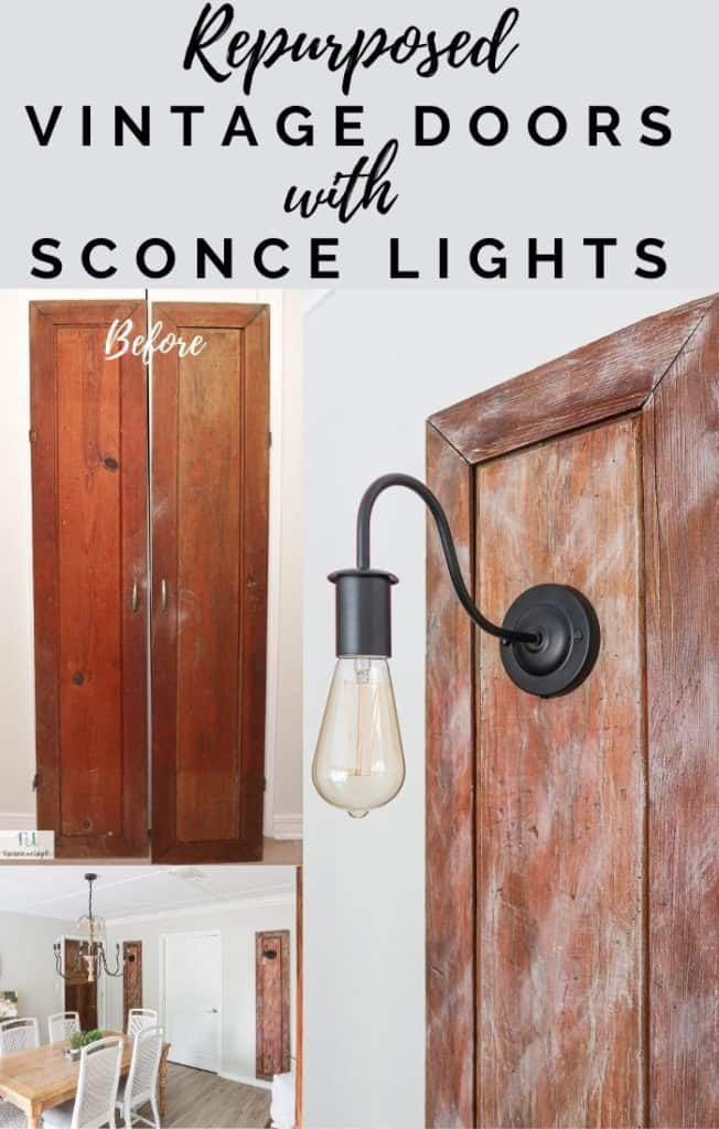 repurposed doors with sconce lights
