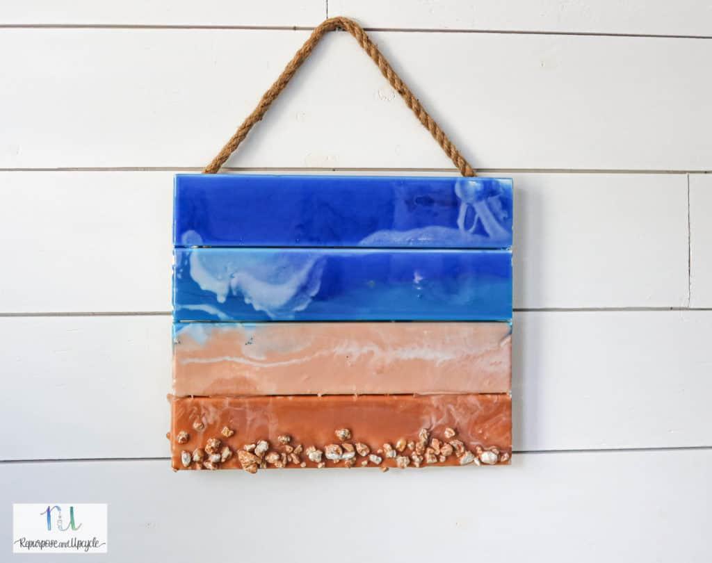 Ocean art with epoxy resin on pallet wood