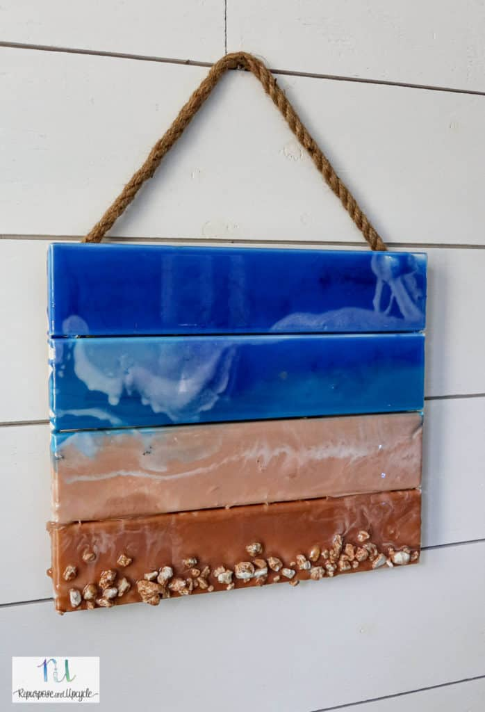 ocean art by epoxy resin pour on pallet wood