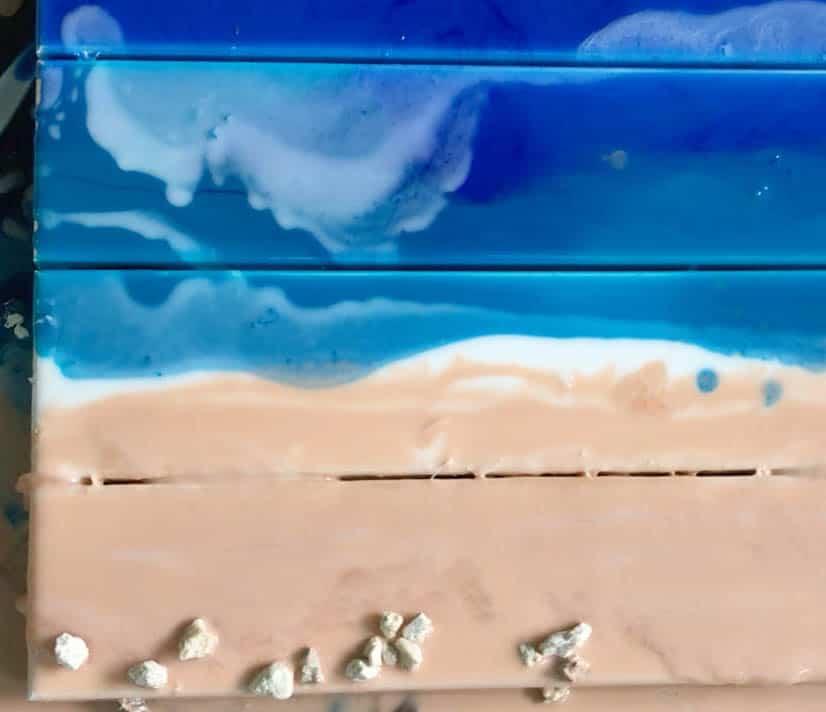 epoxy resin ocean art on pallet wood