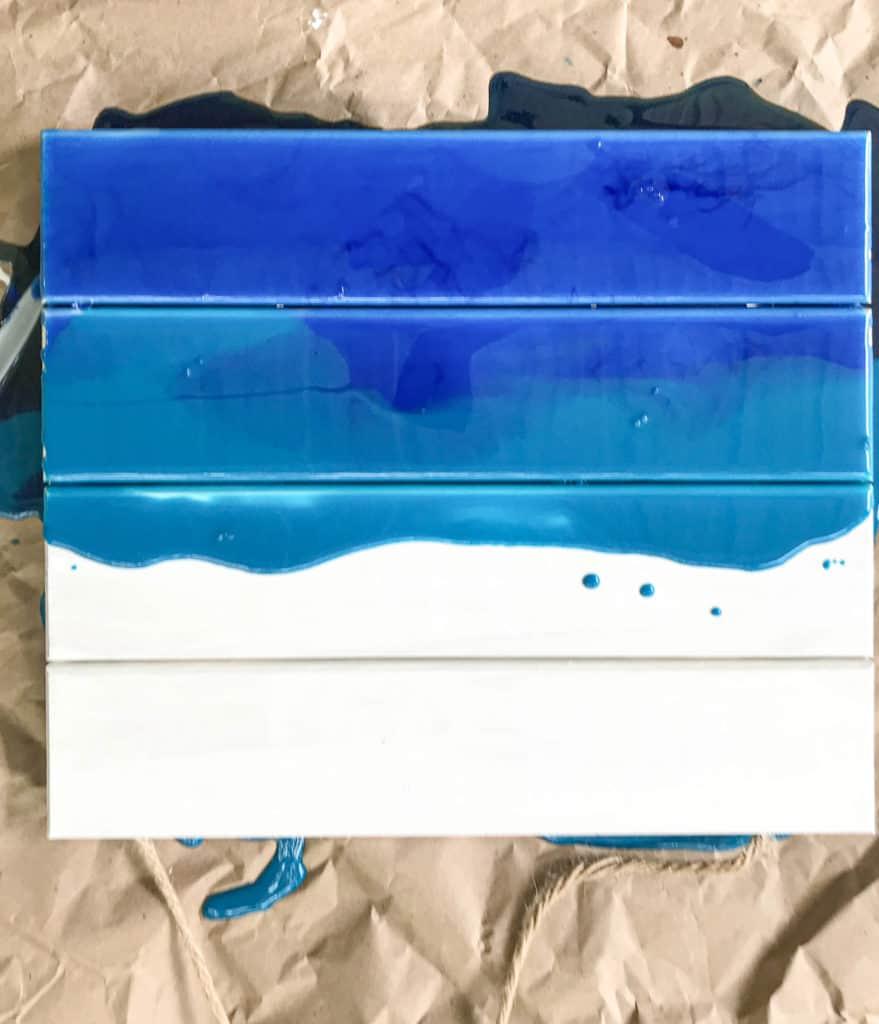 epoxy pour on pallet wood for ocean art