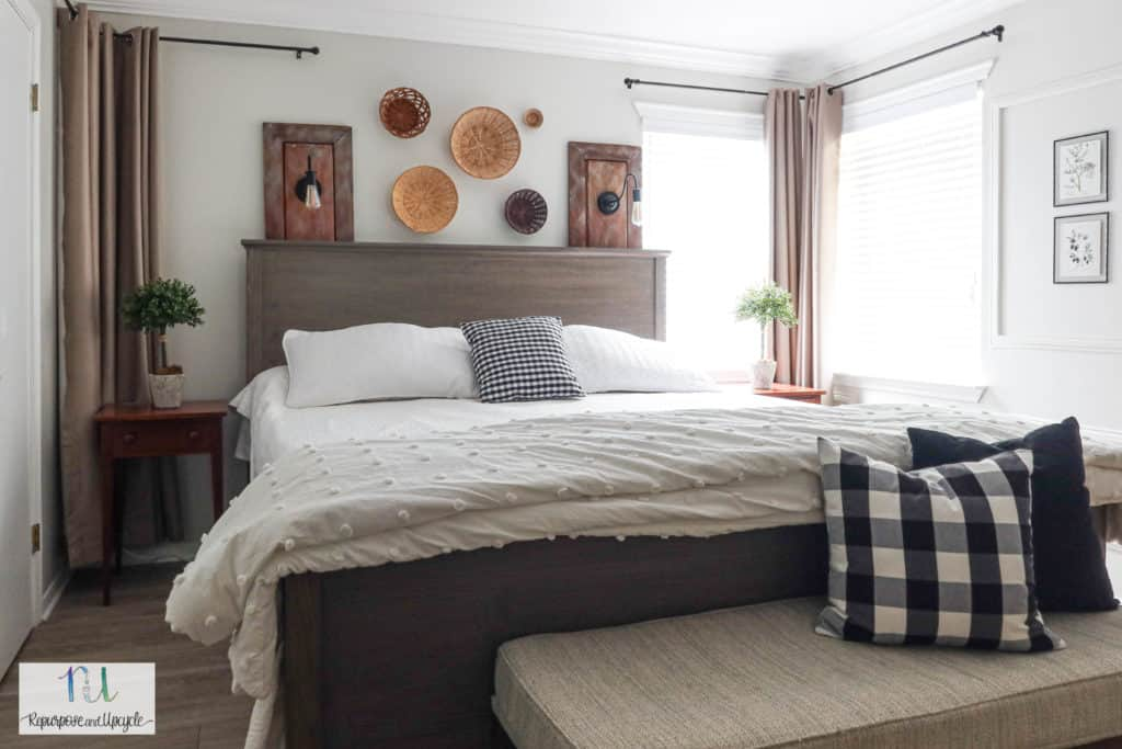 placing a bed in front of corner windows